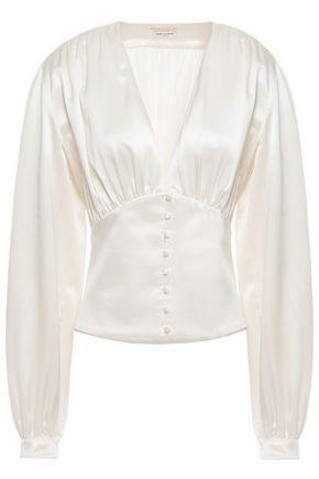 SAINT LAURENT Gathered silk-satin crepe blouse