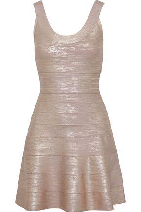 HERVÉ LÉGER فستان قصير بتصميم ضيق مطلي لون ميتاليك مع أطراف واسعة