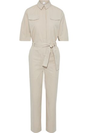 IRIS & INK Clary belted cotton-twill jumpsuit