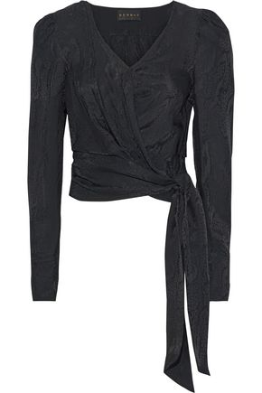DUNDAS Cropped snake-jacquard wrap blouse