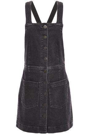3x1 Button-detailed denim mini dress