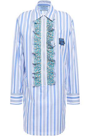 PRADA Ruffled logo-appliquéd striped cotton-poplin mini shirt dress