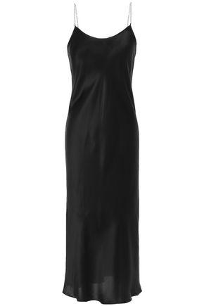 MICHAEL LO SORDO Chain-trimmed silk-satin slip dress