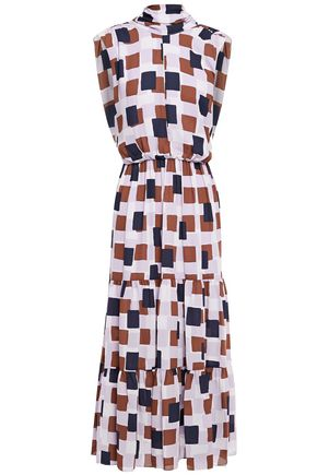KATE SPADE New York Gathered cutout printed crepe midi dress