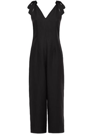 KATE SPADE New York Mainline cropped bow-detailed silk and linen-blend wide-leg jumpsuit