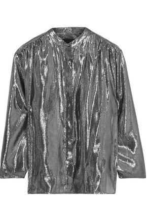 NILI LOTAN Marlaina gathered silk-blend lamé blouse