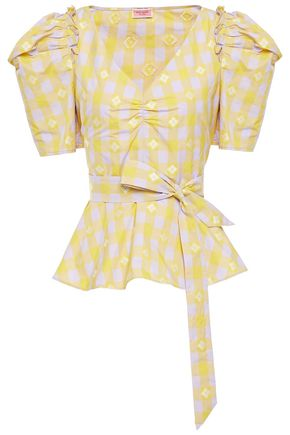 KATE SPADE New York Belted gingham fil coupé taffeta peplum blouse