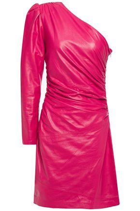 DUNDAS One-shoulder ruched leather mini dress
