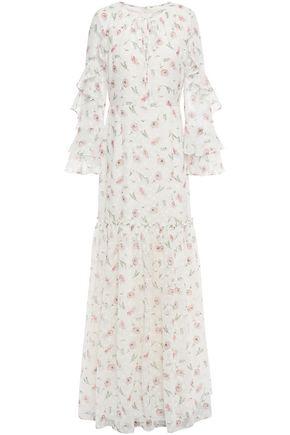 MIKAEL AGHAL Ruffled floral-print fil coupé chiffon maxi dress