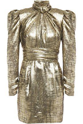DUNDAS Cutout gathered silk-blend lamé-jacquard mini dress