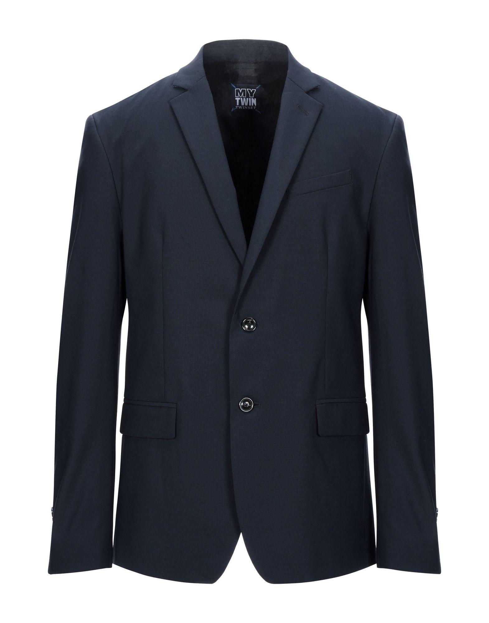 《セール開催中》MY TWIN TWINSET メンズ テーラードジャケット ダークブルー 52 ポリエステル 53% / ウール 43% / ポリウレタン 4%