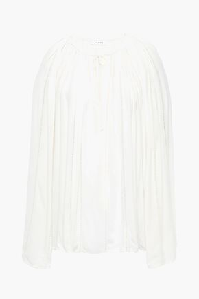 FRAME Lattice-trimmed crepe blouse
