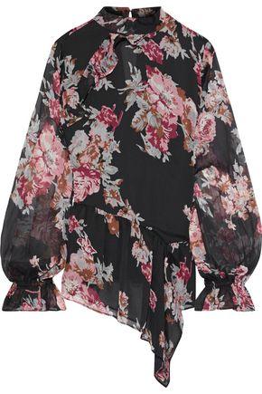 WALTER BAKER Maribel asymmetric floral-print georgette blouse