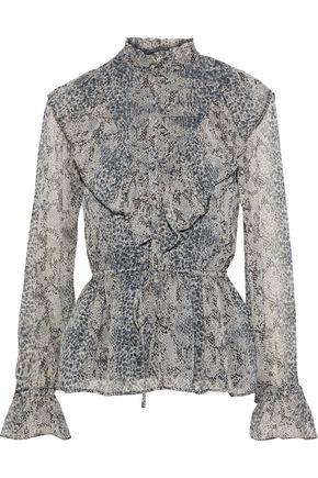 WALTER BAKER Nubia ruffled printed georgette peplum blouse