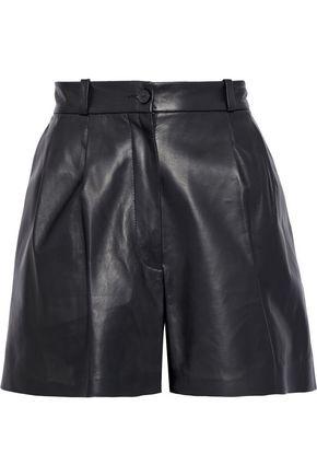 NILI LOTAN Roxana pleated leather shorts