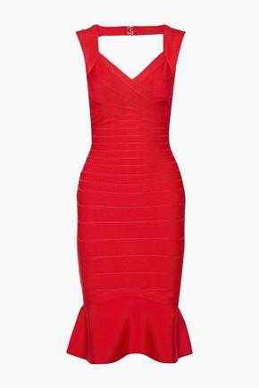 HERVÉ LÉGER فستان بتصميم ضيق مع أطراف واسعة وأجزاء مقصوصة