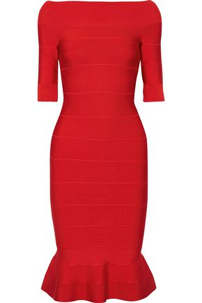 HERVÉ LÉGER Off-the-shoulder fluted bandage dress