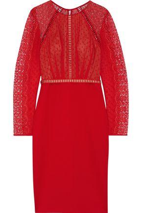 CATHERINE DEANE Nieve macramé lace, Swiss-dot chiffon and ponte dress
