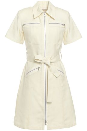 VICTORIA, VICTORIA BECKHAM Belted zip-detailed woven mini shirt dress