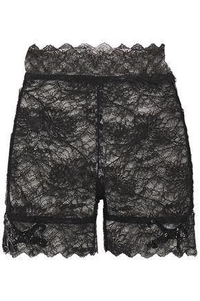 DUNDAS Bead-embellished stretch-lace shorts