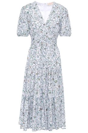 TORY BURCH Gathered floral-print cotton-blend devoré-mesh midi dress