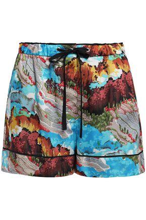 VICTORIA, VICTORIA BECKHAM Printed satin-twill shorts