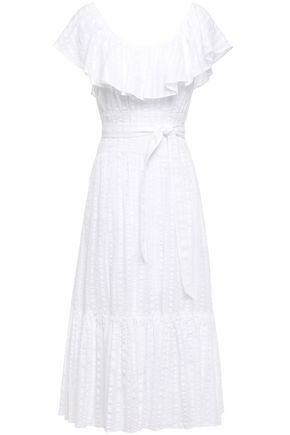 TORY BURCH Ruffled cotton-seersucker midi dress