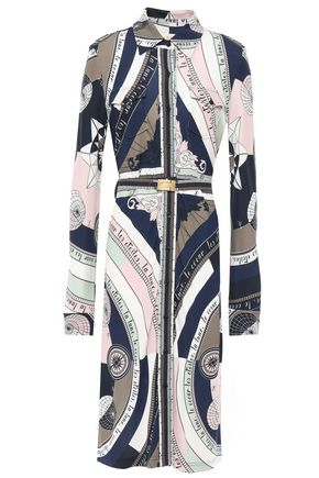 TORY BURCH Crista belted printed crepe-jersey shirt dress