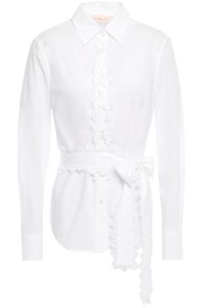 TORY BURCH Scallop-trimmed cotton-poplin shirt
