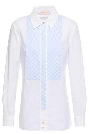 TORY BURCH Gingham jacquard-paneled crystal-embellished cotton-poplin shirt