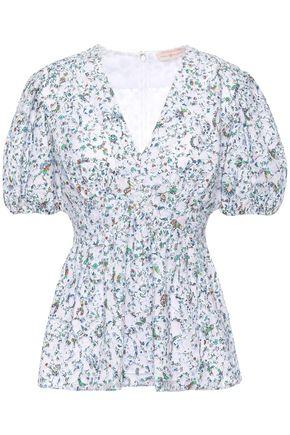 TORY BURCH Gathered floral-print cotton-blend devoré-mesh blouse