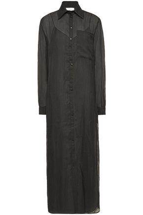 VICTORIA, VICTORIA BECKHAM Embroidered georgette midi shirt dress