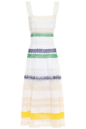TORY BURCH Lace-trimmed cotton-poplin midi dress