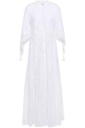 TORY BURCH Crochet-trimmed embroidered Swiss-dot cotton maxi dress