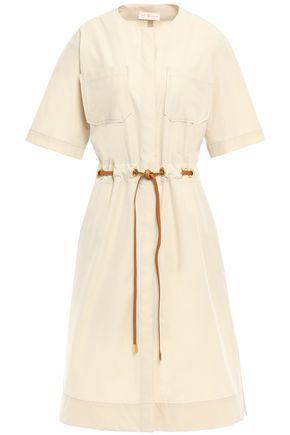 TORY BURCH Leather-trimmed poplin shirt dress