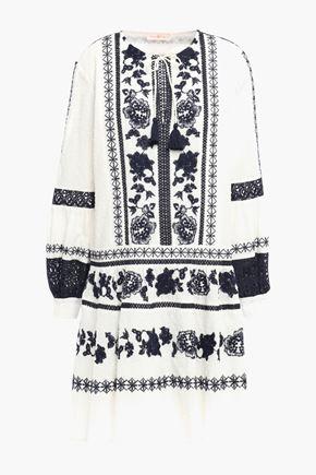 TORY BURCH Embroidered cotton swiss-dot mini dress