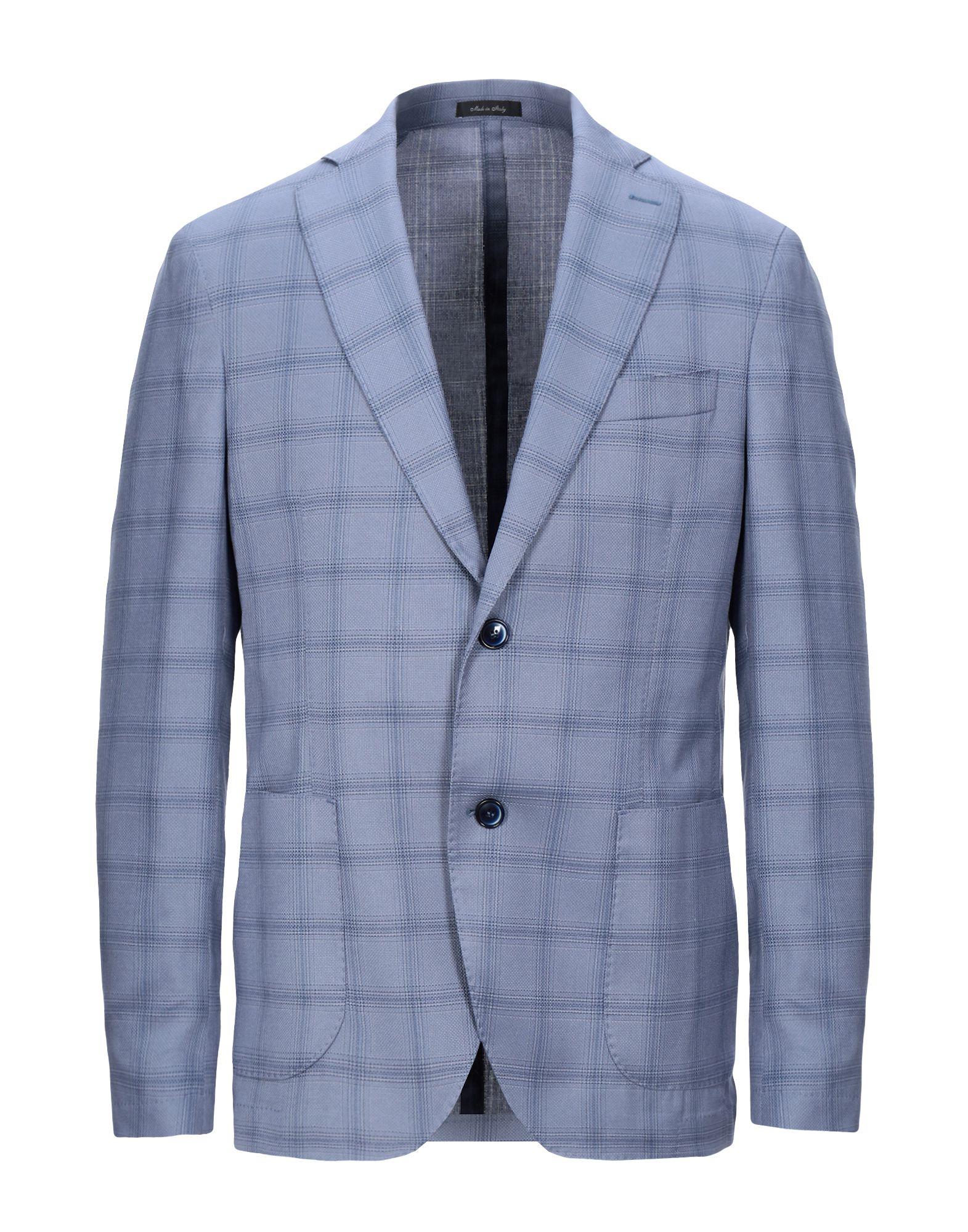 《セール開催中》BRERAS Milano メンズ テーラードジャケット ブルーグレー 46 ポリエステル 72% / レーヨン 26% / ポリウレタン 2%