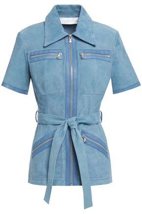 VICTORIA, VICTORIA BECKHAM Belted zip-detailed suede shirt