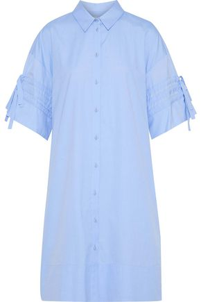 VICTORIA, VICTORIA BECKHAM Tie-detailed cotton-poplin shirt dress