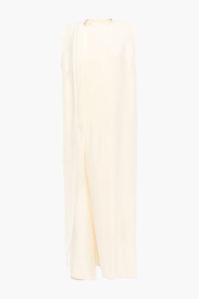 VICTORIA BECKHAM فستان غير متماثل من مزيج الحرير مع أجزاء من الساتان وطيات
