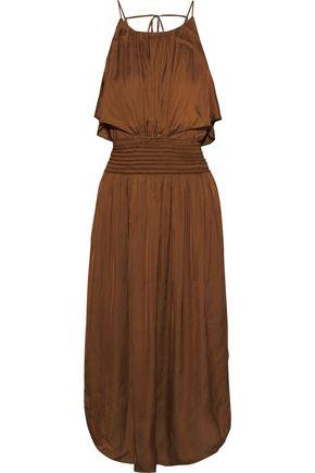 HALSTON Shirred crinkled-sateen midi dress
