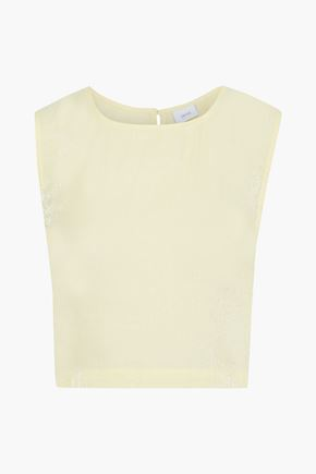 ONIA Charlotte cropped crinkled metallic woven tank