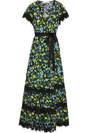 """DIANE VON FURSTENBERG فستان سهرة ملتف """"فيكتوريوس"""" من التول المطرز مع تقليمات من الدانتيل المخرّم"""