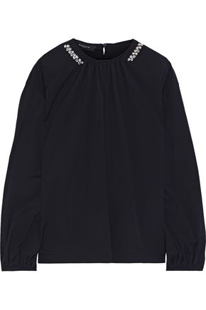 ROCHAS Bow-detailed crystal-embellished stretch-cotton top