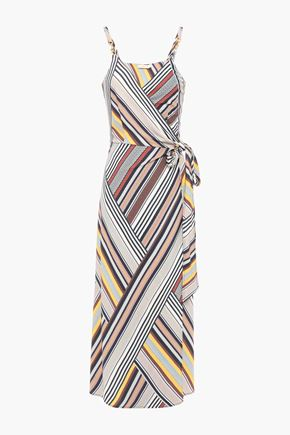 TORY BURCH フック付き ストライプクレープジャージー ミディラップドレス