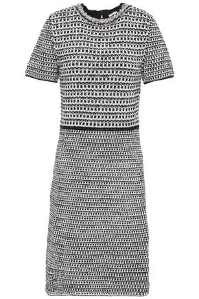 TORY BURCH Frayed embellished metallic tweed mini dress