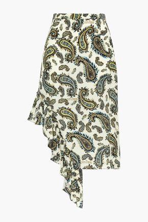 ROKH Asymmetric ruffled printed silk crepe de chine mini skirt