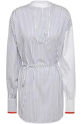 VICTORIA, VICTORIA BECKHAM Belted striped cotton-poplin blouse