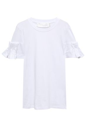 VICTORIA, VICTORIA BECKHAM Pleated cotton-jersey top