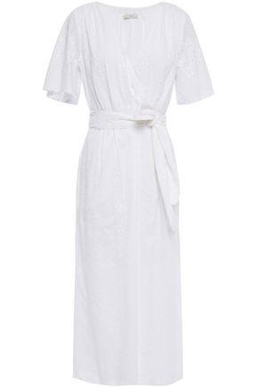 JOIE فستان متوسط الطول بتصميم ملتفّ من القطن بتطريز إنجليزي
